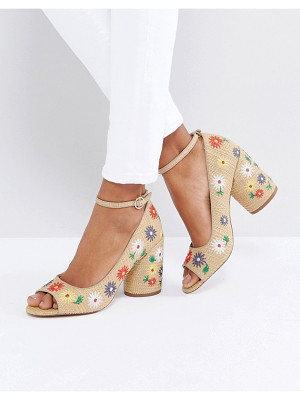 ASOS Ornament Embroidered Peep Toe Heels