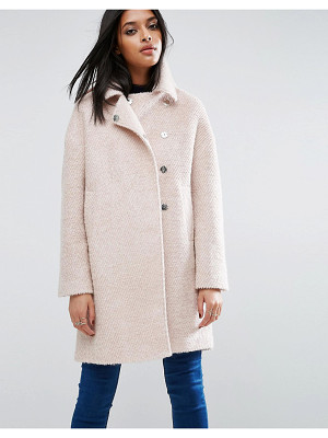 ASOS Oversized Cocoon Coat With Funnel Neck In Wool Mix And Boucle Texture