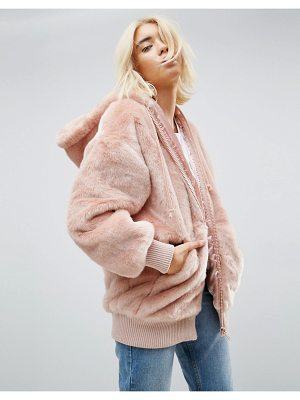 Asos Oversized Hooded Jacket in Faux Fur