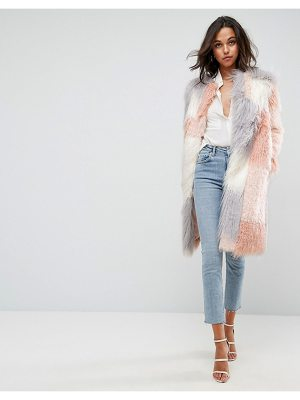 ASOS Patched Faux Fur Mongolian Coat