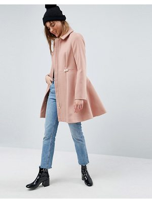 ASOS DESIGN pearl trim skater coat