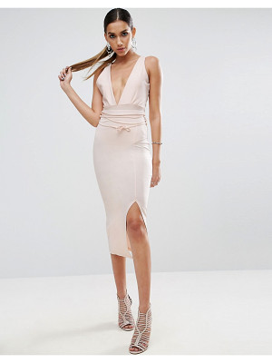 ASOS Pencil Skirt With High Waist Corset Tie Detail