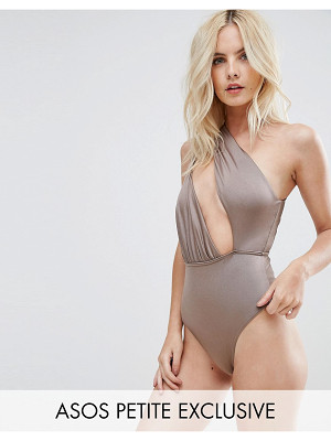 Asos PETITE Asymmetric One Shoulder Glam Swimsuit