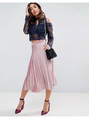 Asos Pleated Midi Skirt in Velvet