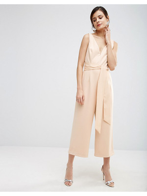 Asos Premium Structured Plunge Jumpsuit with Tie Belt