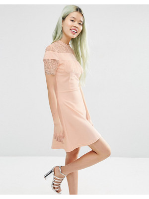 ASOS Ponte Skater Dress With Mesh & Lace Insert