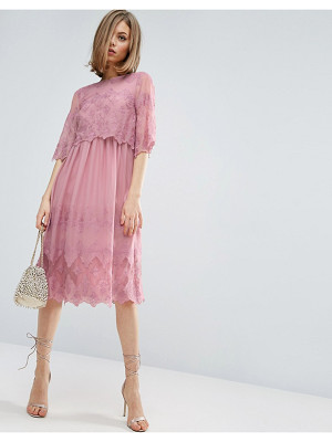 Asos PREMIUM Double Layer Pretty Embroidered midi dress