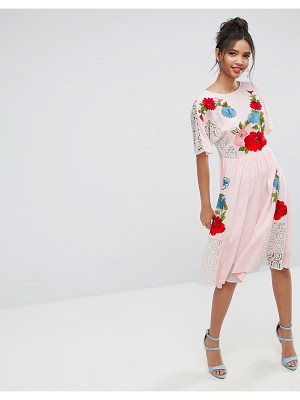 Asos PREMIUM Embroidered midi dress with Open Back