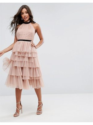 ASOS Premium High Neck Tiered Tulle Midi Prom Dress