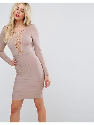 Asos Premium Lace Up Bandage Bodycon Mini Dress