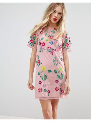 ASOS DESIGN premium mesh t-shirt dress with floral embroidery
