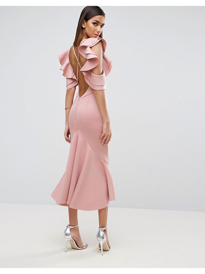Asos Lace High Neck Sweetheart Midi Body Conscious Scuba