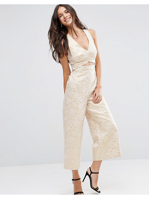 Asos Premium Structured Metallic Jacquard Jumpsuit