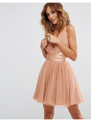 Asos asos premium tulle mini prom dress with ribbon ties