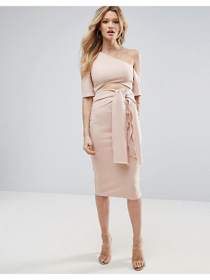 ASOS Ribbed Cut Out Tie Front Midi Dress