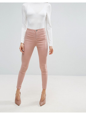Asos RIVINGTON High Waist Denim Jeggings in Washed Pink