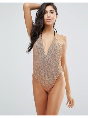 ASOS DESIGN rose gold chain mail effect plunge & high leg swimsuit