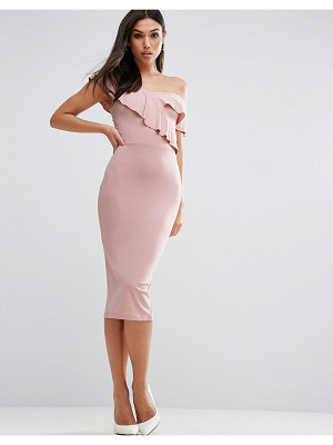 ASOS Ruffle Off The Shoulder Midi Bodycon Dress