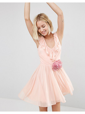ASOS Ruffle V Front Mini With Detachable Corsage