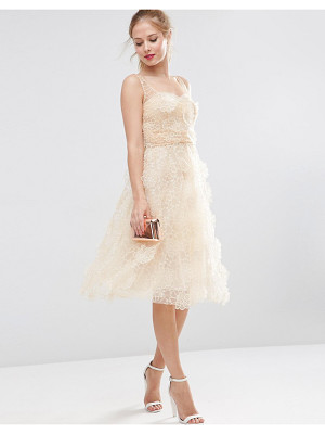 ASOS Salon 3d Flower Organza Midi Prom Dress