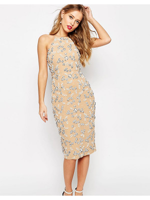 ASOS Salon Drape Back Beaded Floral Midi Dress