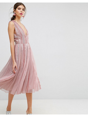 ASOS EDITION Asos Salon Sequin Mesh Fit And Flare Midi Dress