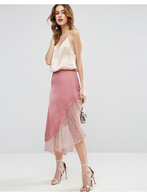 ASOS Satin Midi Skirt With Lace Hem