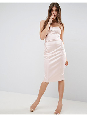 ASOS Satin Scuba Seamed Bodycon Midi Dress