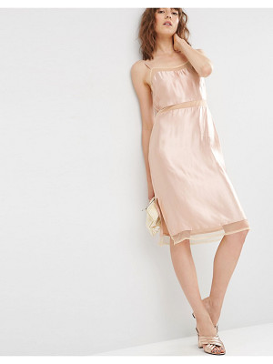 Asos Satin Slip Cami Dress with Mesh Inserts