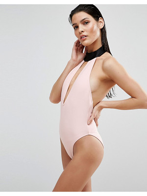 ASOS DESIGN asos scuba contrast choker swimsuit with high leg