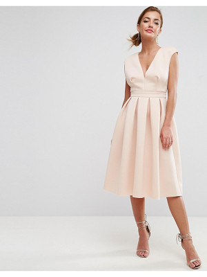 ASOS DESIGN asos scuba deep plunge prom midi dress
