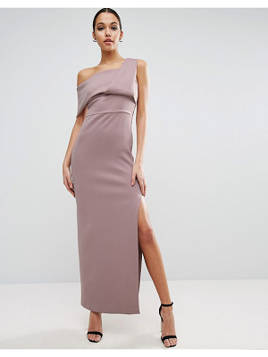 ASOS DESIGN asos scuba one shoulder fold maxi dress with exposed zip