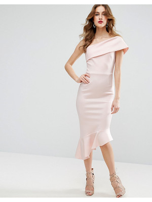 Asos Scuba One Shoulder Pephem Midi Dress
