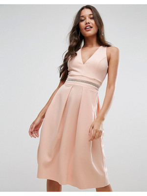 ASOS DESIGN asos scuba open back debutante dress with ladder trim