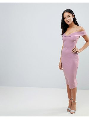 Asos Scuba Strappy Bardot Pencil Midi Dress