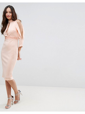 ASOS Scuba Trim Blouson Split Sleeve Midi Dress