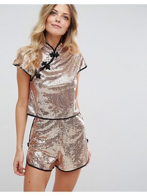 ASOS DESIGN asos sequin chinoiserie top with mandarin collar co-ord