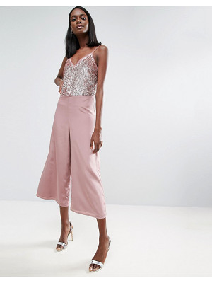 ASOS Sequin Jumpsuit With Raw Edge Detail And Culotte Leg