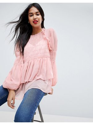 Asos ASOS Sheer Crinkle Blouse With Poets Sleeve