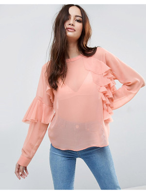ASOS DESIGN asos sheer top with raw edge ruffle