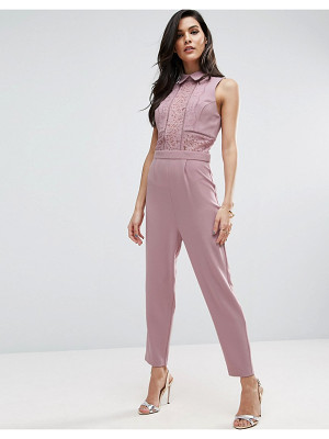 ASOS Shirt Detail Jumpsuit In Lace