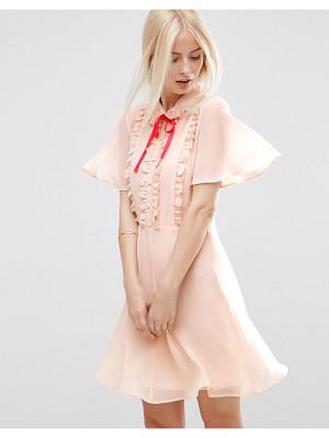 Asos asos short sleeve ruffle front tea dress with contrast tie