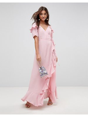 ASOS Short Sleeve Ruffle Wrap Maxi Dress