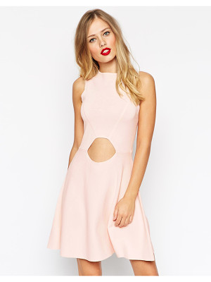 ASOS Skater Dress In Structured Knit With Cut Outs