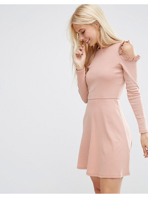 ASOS DESIGN asos skater dress with frill detail and cut out shoulder