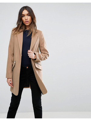 ASOS DESIGN asos slim boyfriend coat with zip pocket