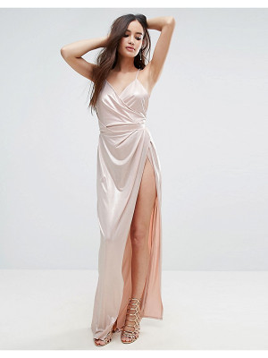 Asos Slinky Lame Wrap Maxi Dress