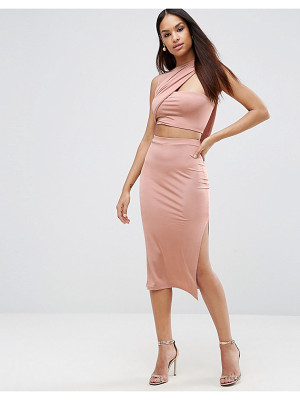 Asos Slinky Two Piece Wrap Midi Bodycon Dress