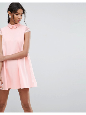 Asos Smock Dress with Pleats And Lace Details