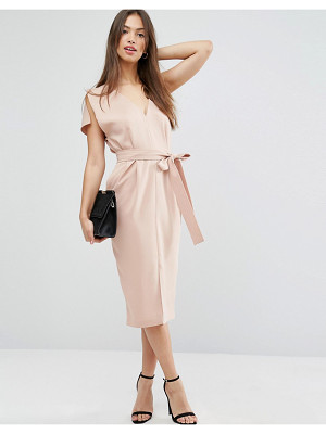 Asos Split Sleeve Dress with Plunge Neck and Tie Belt